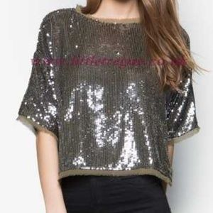 Topshop Sequins and Silk Cropped T-Shirt